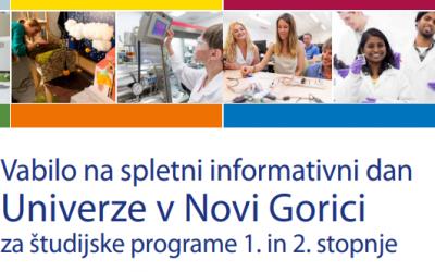 Vabilo na spletni informativni dan Univerze v Novi Gorici