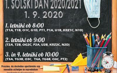 Prvi šolski dan v šol. letu 2020/21